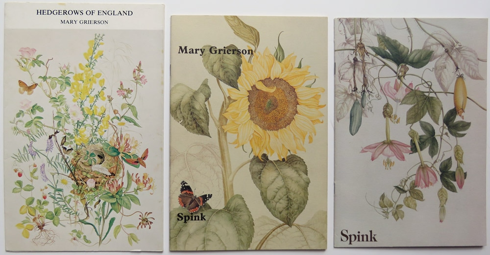 Three catalogues from solo exhibitions by Mary Grierson