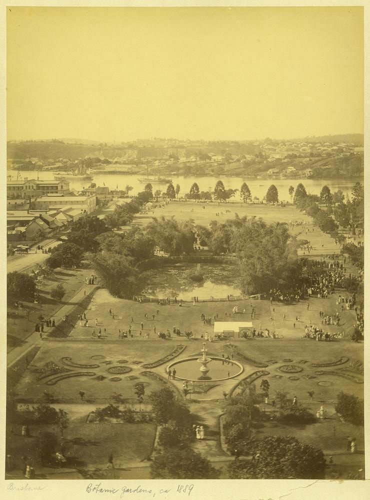 Brisbane's Botanic Gardens from Parliament House to the Brisbane River, ca. 1889