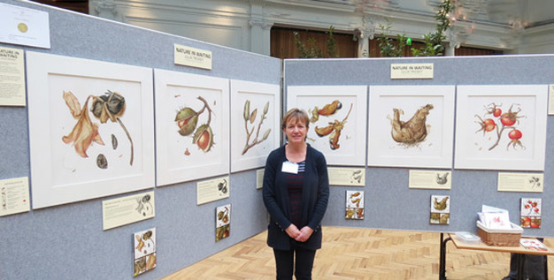 Julia Trickey GM with her RHS Gold medal winning exhibit of 'Nature in Waiting' at the RHS Lindley Hall in 2013