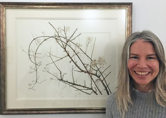 Angeline de Meester with her painting at the 'British Artists in the Shirley Sherwood Collection' at Kew in 2016