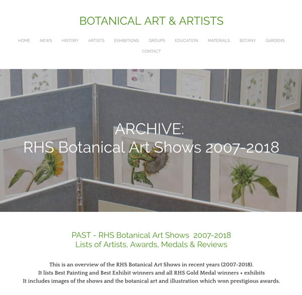 ARCHIVE RHS Botanical Art Shows 2007-2018