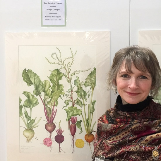 Bridget Gillespie GM with her painting of Beetroot beta vulgaris - RHS Best Painting in Show 2017