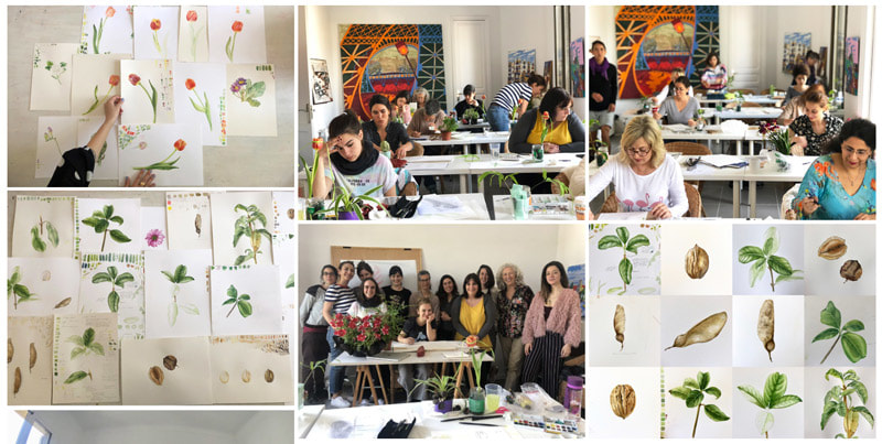 Isik Guner botanical painting workshop in Barcelona