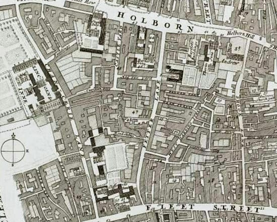 Fetter Lane in the Farringdon Without Ward | John Strype's 'A Survey of the Cities of London and Westminster' (1720)