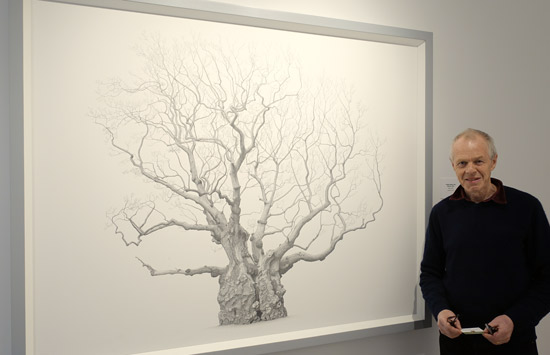 Mark Frith with his first ever drawing of an ancient oak tree - displayed at the Shirley Sherwood Gallery at Kew