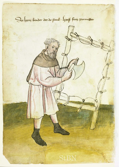 A 15th century parchment maker using a crescent-shaped scraper working a stretched skin clamped to a drying frame