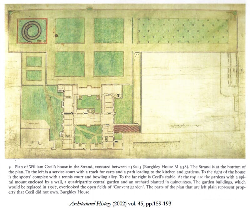 This coloured plan of the house and garden as it was ca 1562-67 was discovered in 1999 at Burghley House. It is said to be the earliest plan known of any English garden.