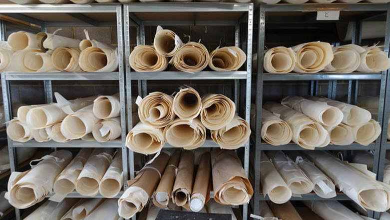 Rolls of vellum skins at Cowleys