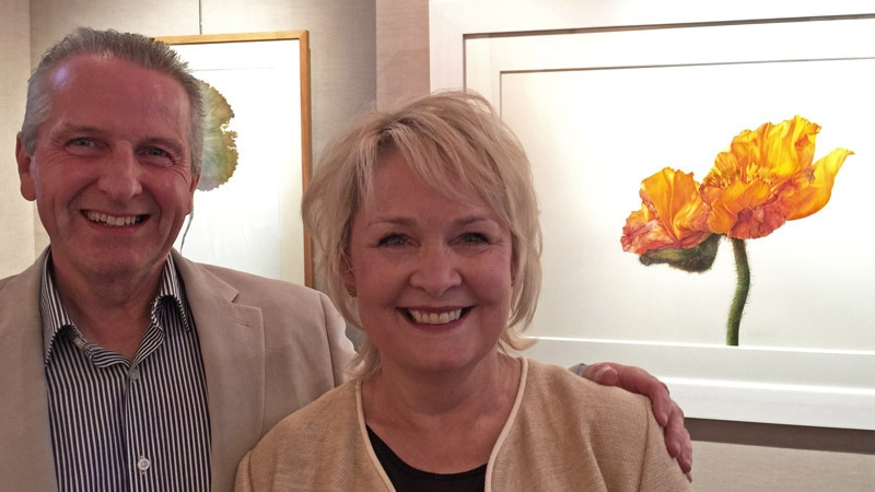 Fiona Strickland GM with her husband and fellow botanical artist Robert McNeill at the Shirley Sherwood 25th Anniversary Exhibition at the Jonathan Cooper Park Walk Gallery (April 2015)