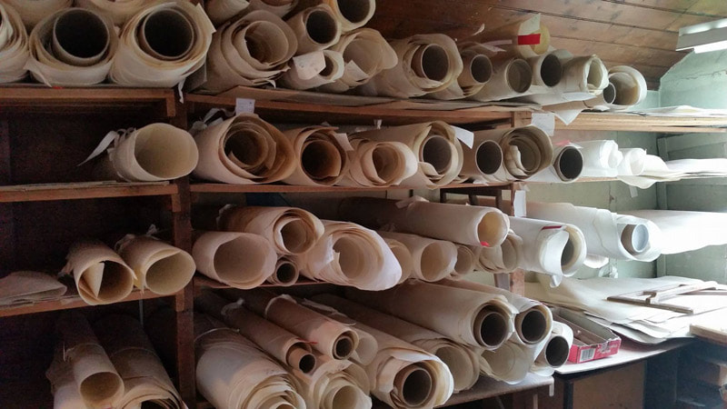 Processed rolls of vellum and parchment